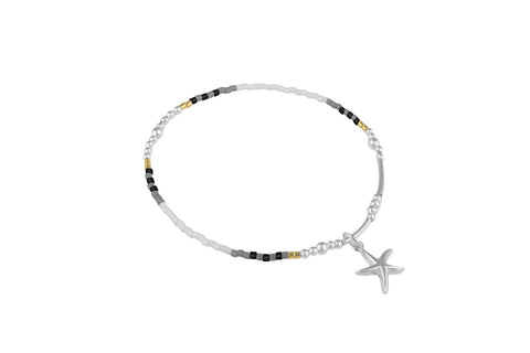 Stargazer Black Beaded Sterling Silver Stretch Bracelet with Starfish Charm