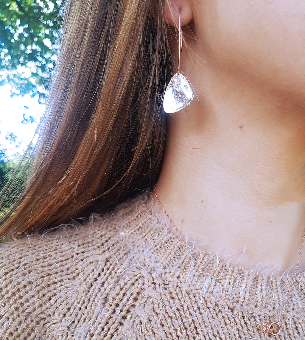 Stasey Silver Paddle Drop Earrings - Boho Betty