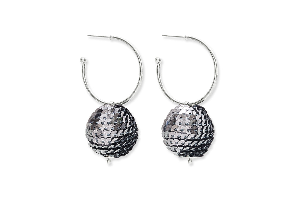 Tangie Silver Disco Ball Hoop Earrings
