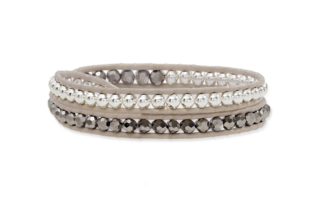Taupe Twist Leather 2 Wrap Bracelet