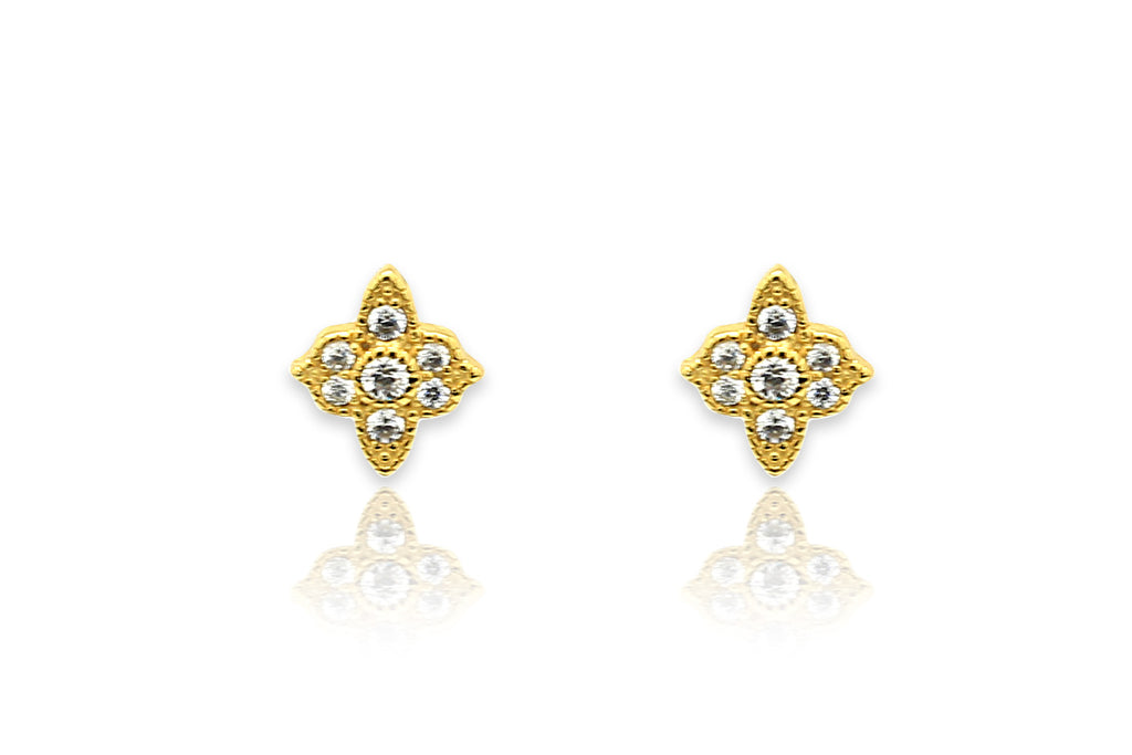 Takia Filigree CZ Gold Stud Earrings