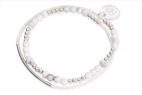 Talitha White Beaded Wrap Bracelet