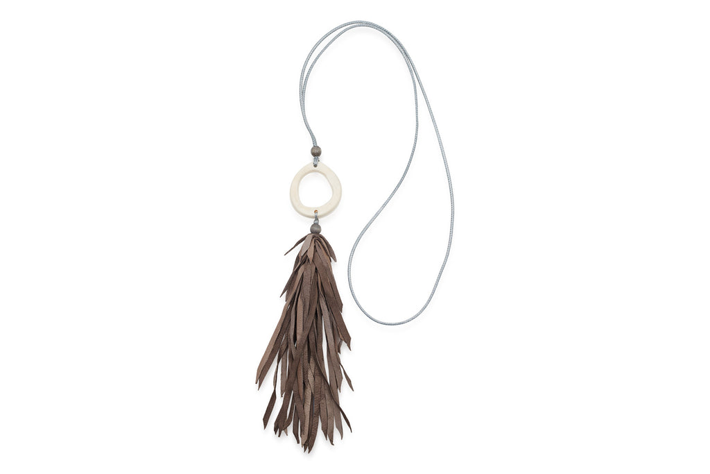 Tawaret Grey Lambskin Leather Tassel Necklace