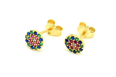 Teles Gold CZ Stud Earrings