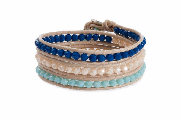 Tripoli Taupe Leather 3 Wrap Navy Blue, Sky Blue and Sand Crystal Bead Bracelet