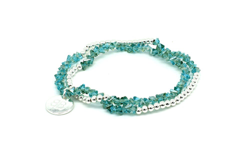 Tulip 2 Wrap Crystal Stretch Bracelet