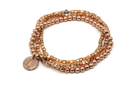 Ursinia Rose Gold 3 Wrap Stretch Bracelet