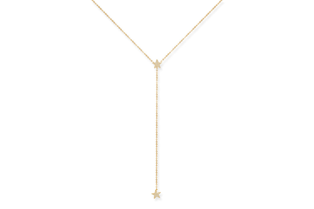 Veneto Gold on Sterling Silver Star Lariat Necklace