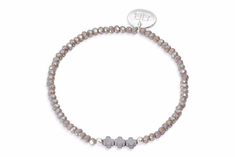 Vega Grey Beaded Stretch Bracelet with Cross Charms