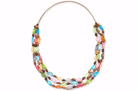 Venus Long Necklace with Multi Coloured Shell and Cubed Wooden Blocks