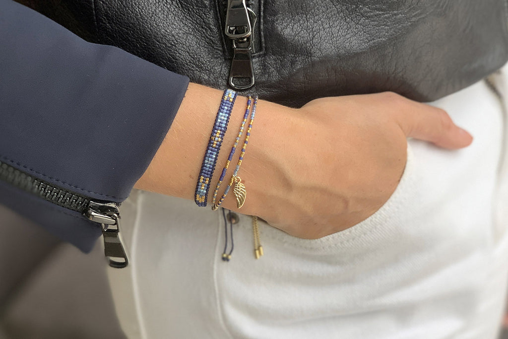 Verona Blue 2 Layered Bracelet Stack