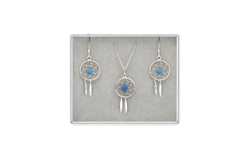 Dreamcatcher Silver Earring and Necklace Set