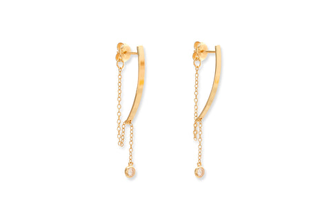 Wilde Gold Lariat Drop Earrings