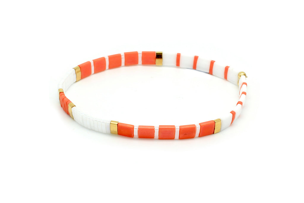Winberry Orange Stretch Tila Bead Bracelet