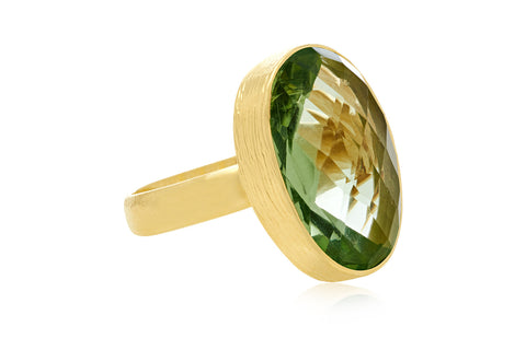 Witherspoon Gold Adjustable Ring with Green Amethyst