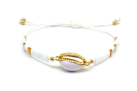 Wolfberry White Shell & Tila Bead Friendship Bracelet