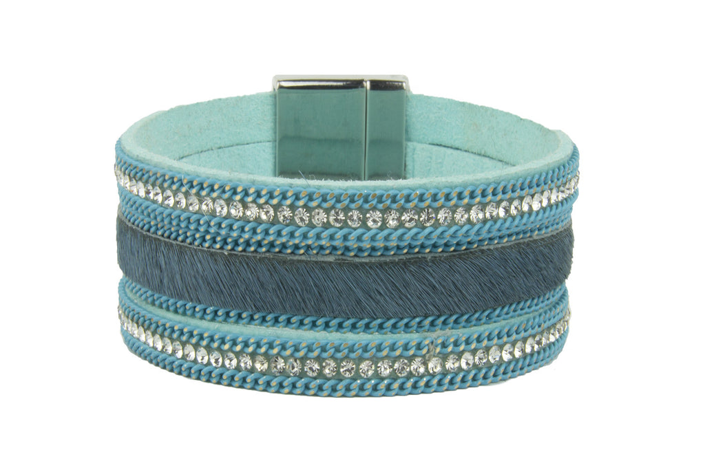 Wolverine Blue Animal Skin Crystal Magnetic Bracelet