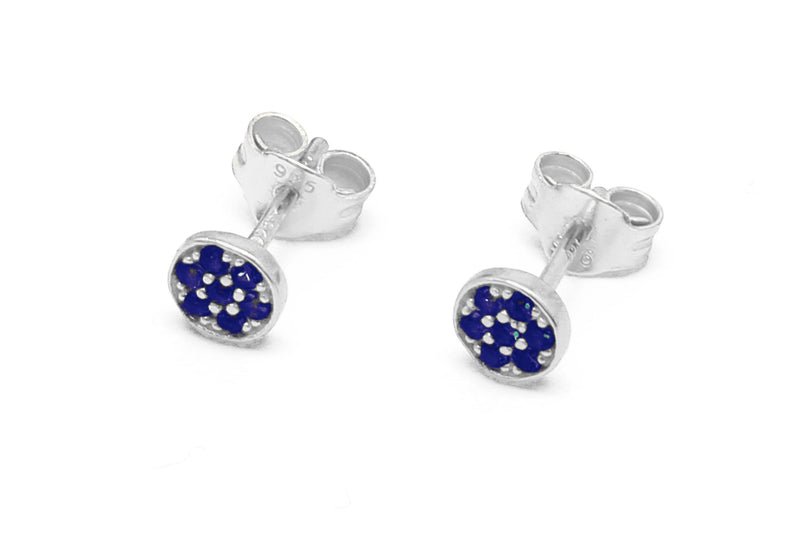 Woodley Blue & Silver Disc Stud Earrings - Boho Betty