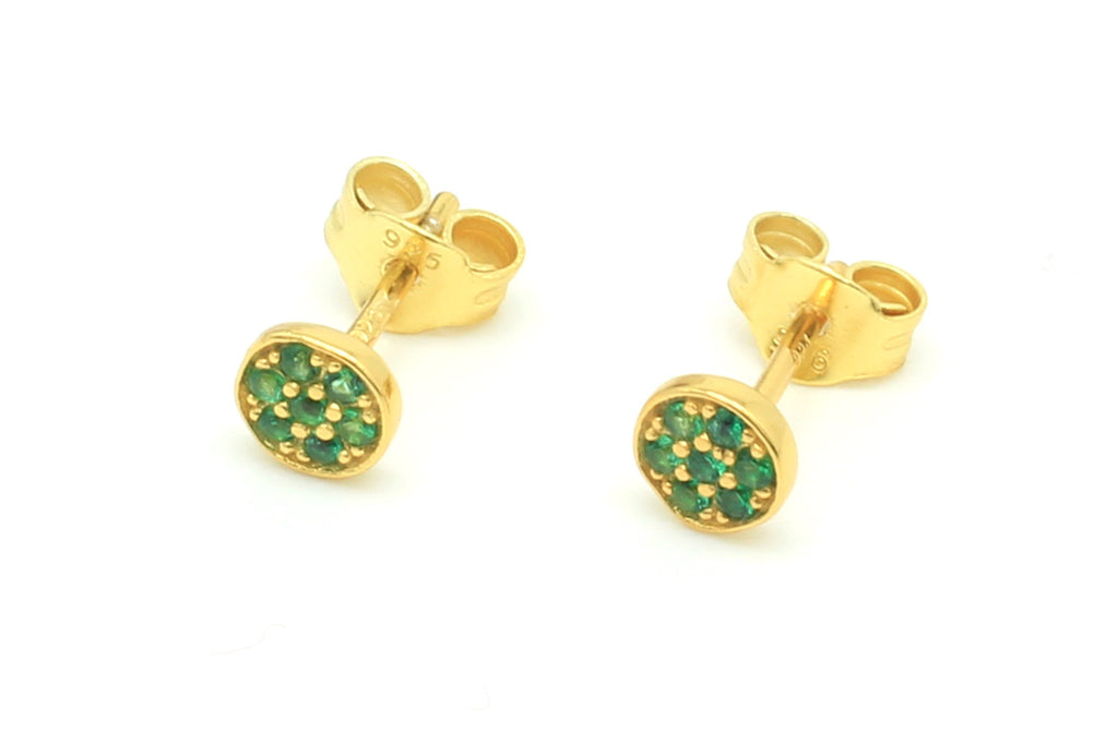 Woodley Green & Gold Disc Stud Earrings