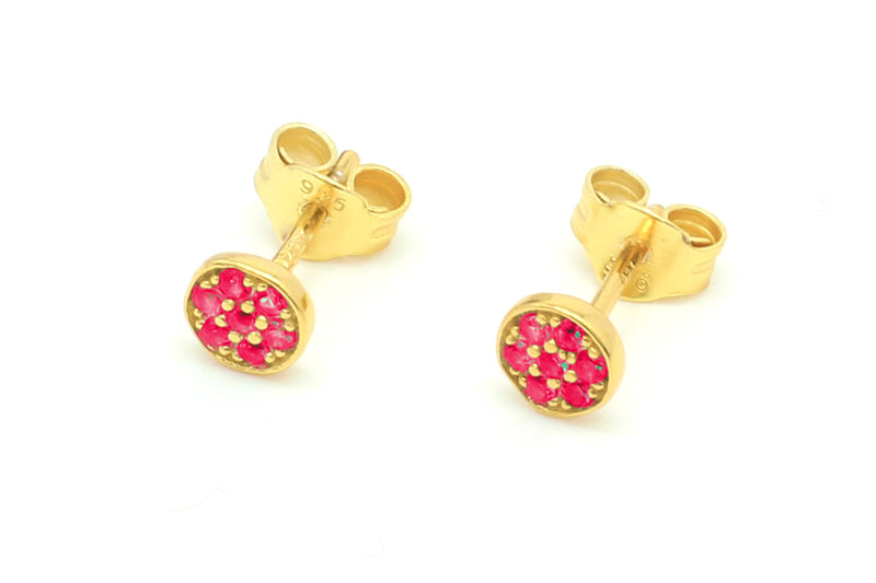 Woodley Pink & Gold Disc Stud Earrings - Boho Betty