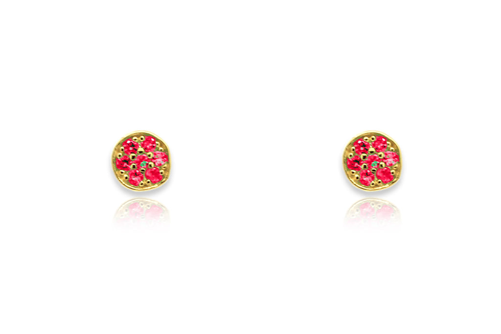 Woodley Pink & Gold Disc Stud Earrings