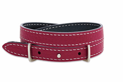 Yew Metallic Dark Grey and Purple 2 wrap Leather Reversible Belt-Buckle Bracelet