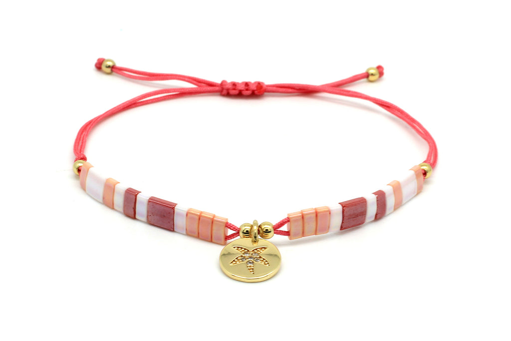 Yigualti Coral Tila Bead Starfish Friendship Bracelet - Boho Betty