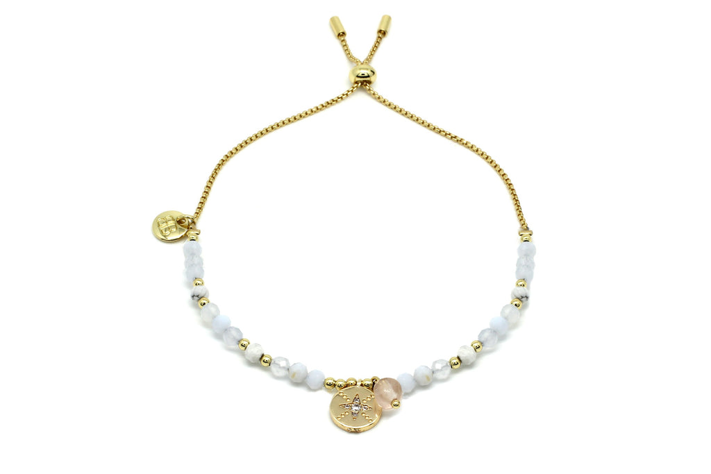 Amrum Pale Grey & Gold Charm Bracelet - Boho Betty