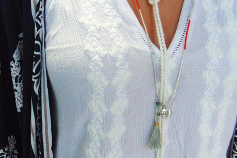 Ata Coral & Silver Miyuki Beaded Necklace with Silver Tassel