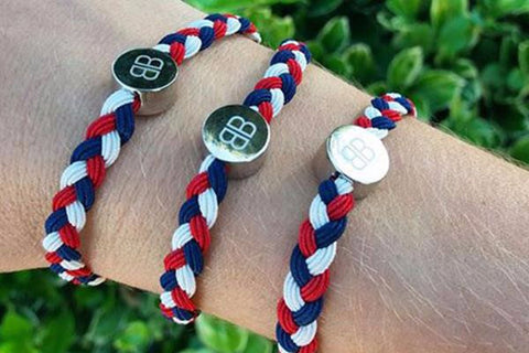 Three Navy, Red and White Hair Tie & Bracelets