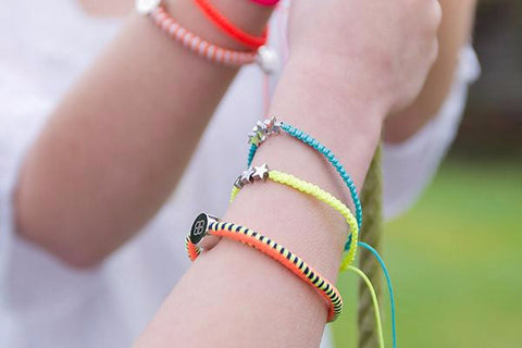 Three Orange Hair Tie Bracelets