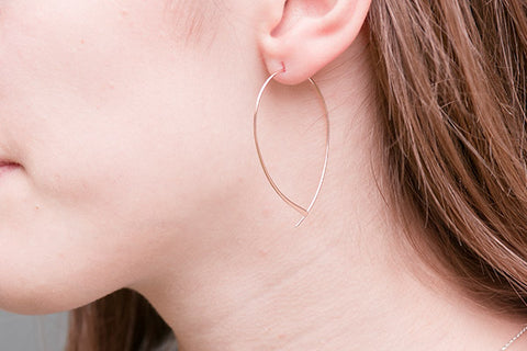Bellucci Rose Gold on Sterling Silver Curved Thread Through Earrings