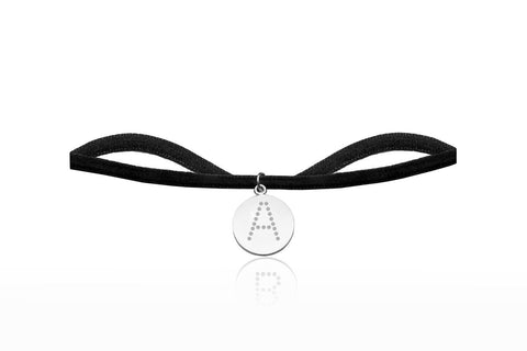 Black Velvet Choker with Letter A Charm