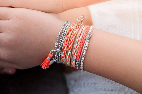Blossom Dearie 3 Wrap Leather Bracelet with Orange and Silver Seed Beads