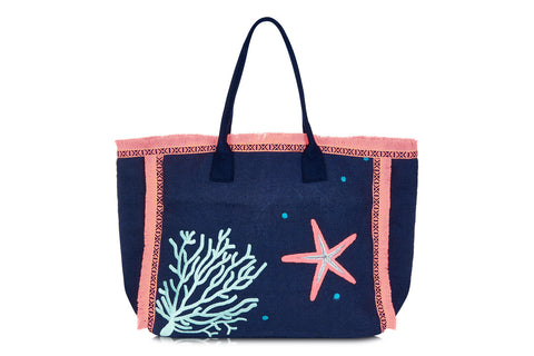 Vedella Large Navy and Coral Beach Tote Bag with Starfish