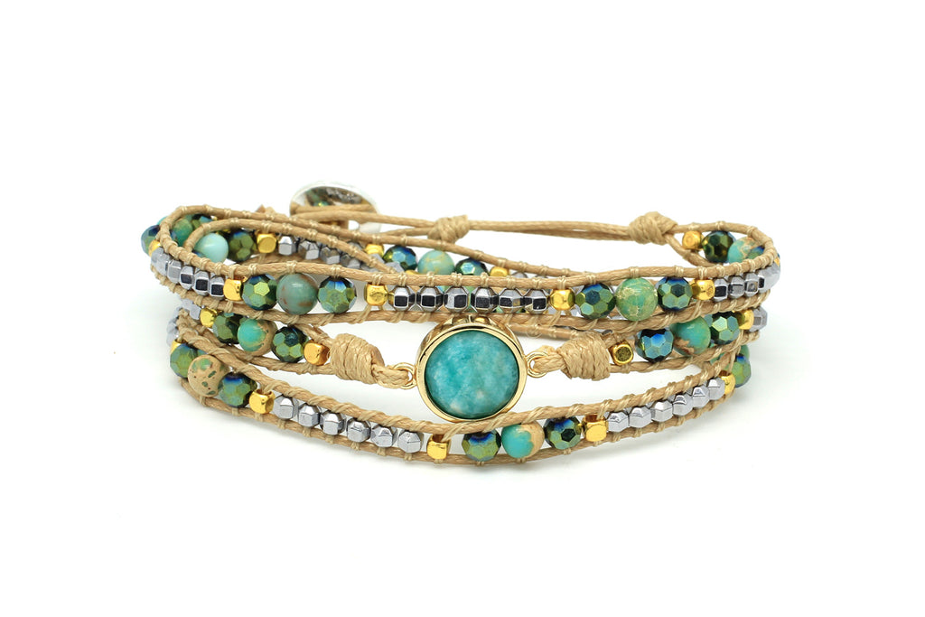 America Teal Leather 3 Wrap Bracelet