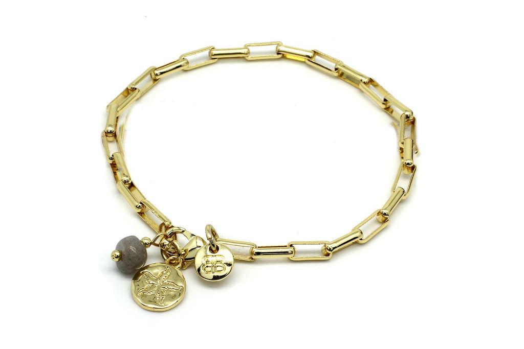 Nissi Gold Link Chain Charm Bracelet - Boho Betty
