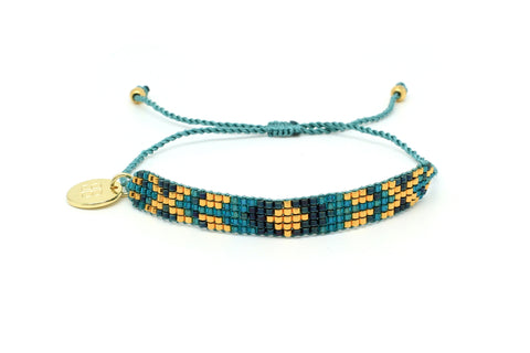 Aloha 5 Row Teal Beaded Bracelet