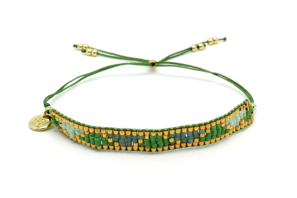 Venus Point Green & Gold Beaded Bracelet - Boho Betty