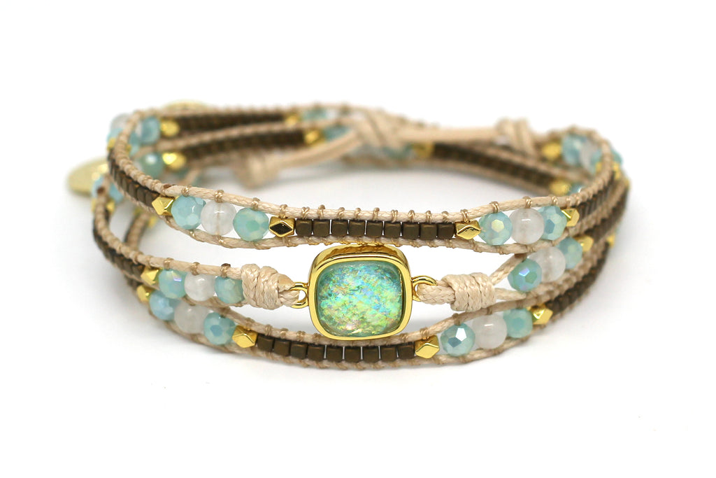 America Aqua Gemstone Leather 3 Wrap Bracelet - Boho Betty