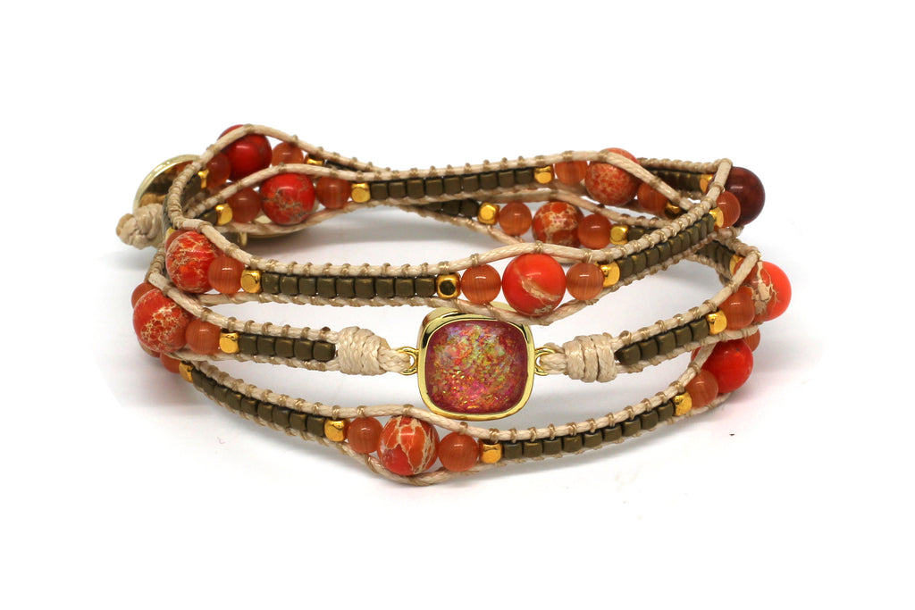 America Orange Gemstone 3 Wrap Bracelet - Boho Betty