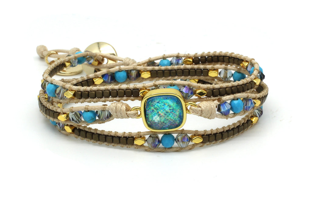 America Turquoise Leather 3 Wrap Bracelet - Boho Betty