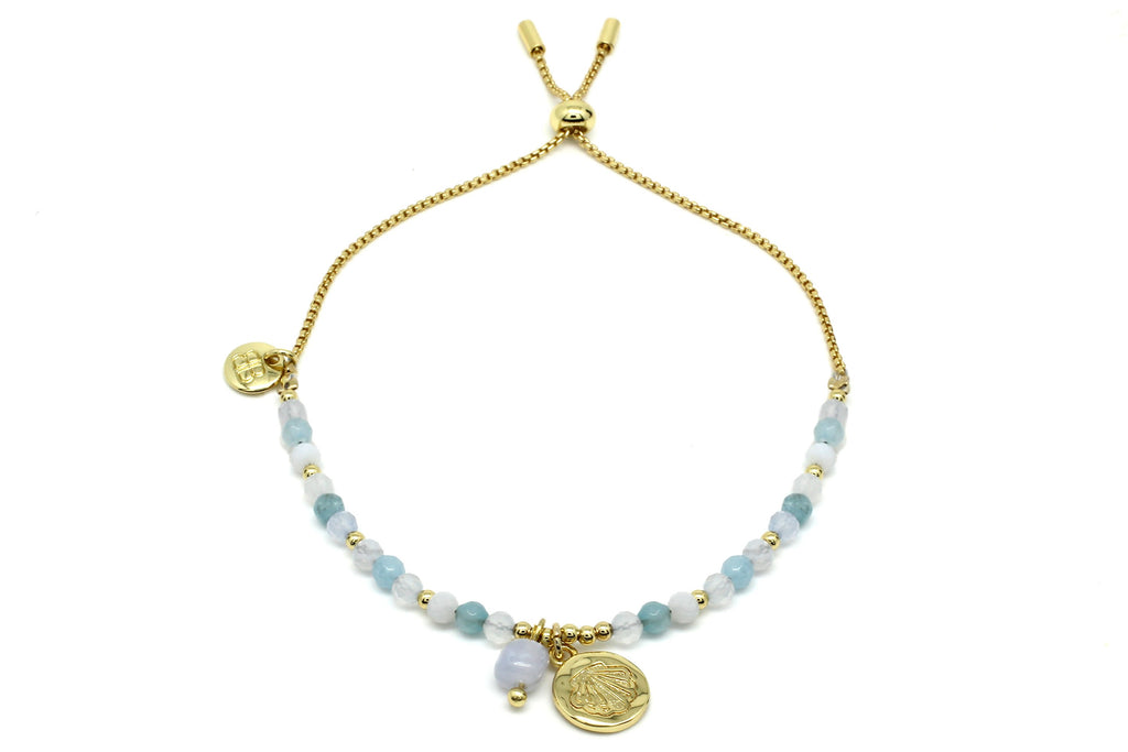 Amrum Light Blue & Gold Charm Bracelet - Boho Betty