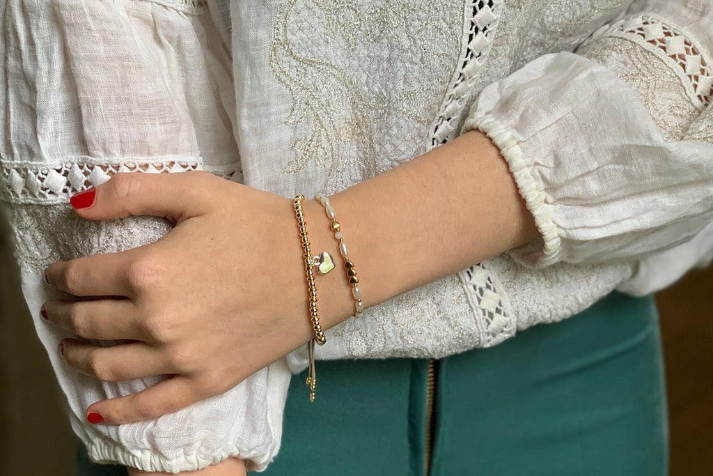 Bali Gold & Silver Heart Charm Bracelet - Boho Betty