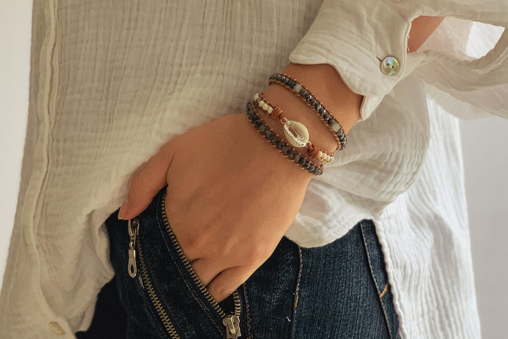 Barn Leather 3 Wrap Shell Bracelet - Boho Betty