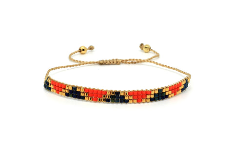 Blackstar 3 Row Orange Beaded Bracelet