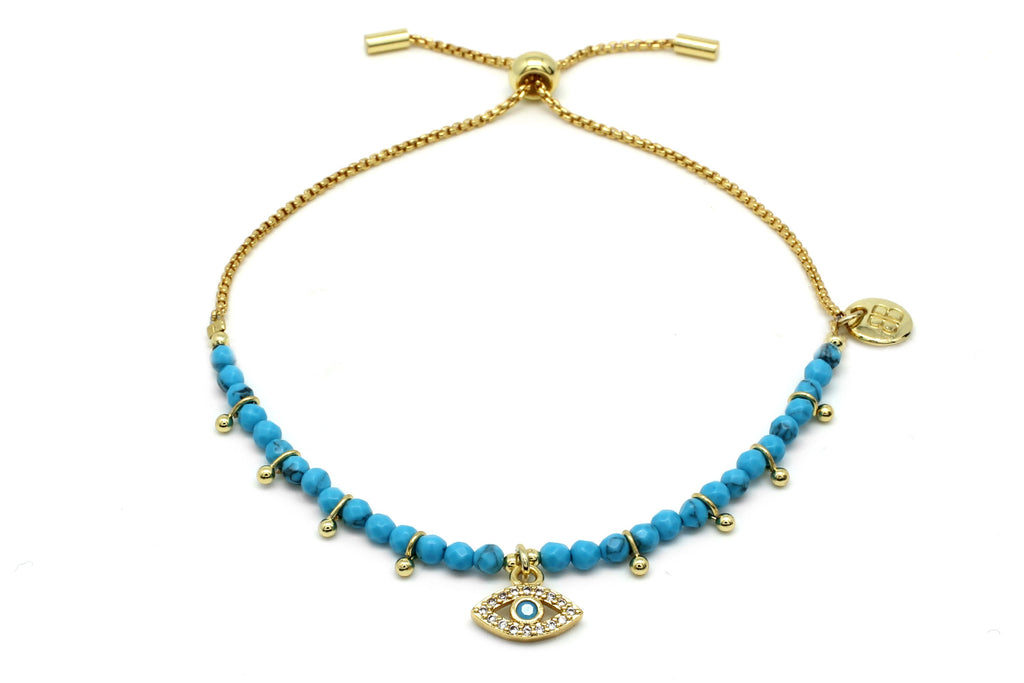 Brela Blue Evil Eye Charm Bracelet - Boho Betty