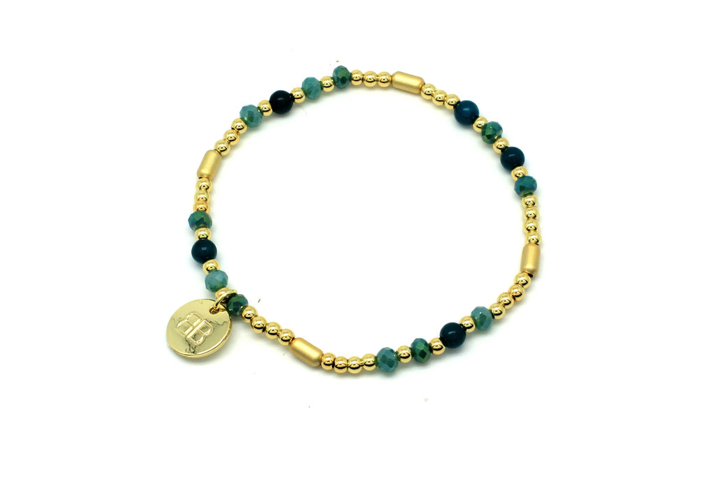 Buccina Teal Jade Stretchy Bracelet - Boho Betty