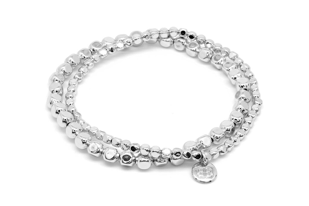 Sabal Major Silver Nugget Bracelet Set - Boho Betty