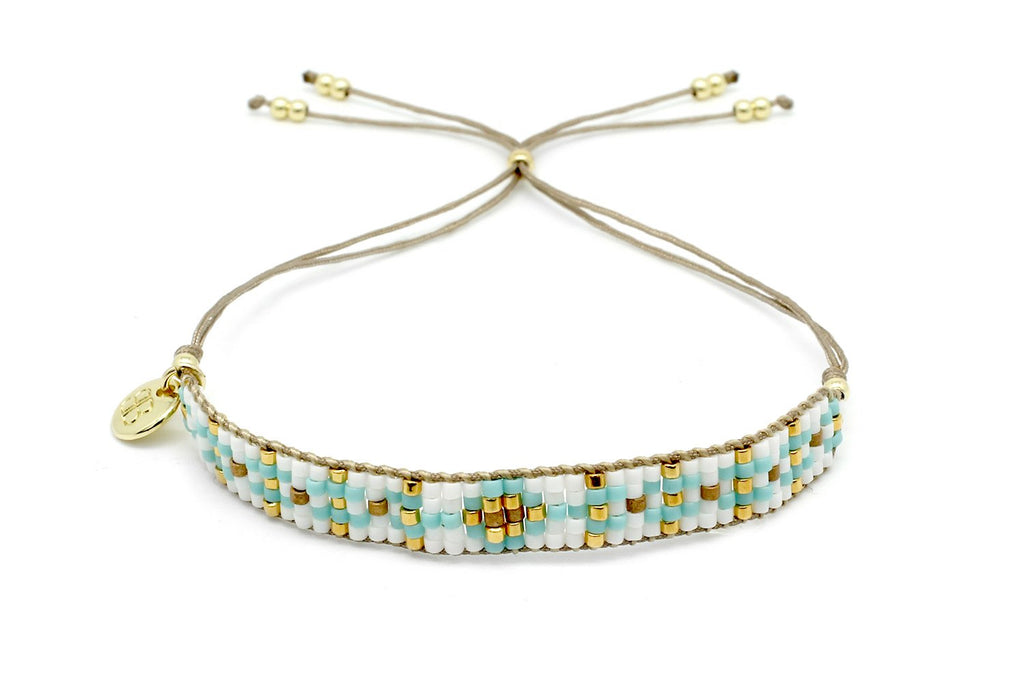 Matira White Beaded Friendship Bracelet - Boho Betty